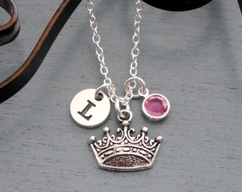 Princess Necklace, Personalized Crown Necklace, Silver Crown Necklace, Initial Necklace, Princess Jewelry, Gifts for Girls, Princess, Custom
