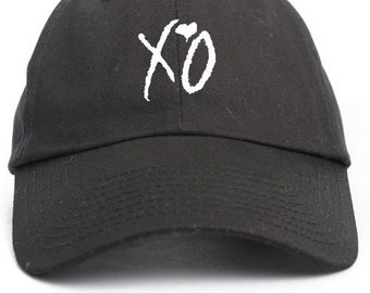 XO Hugs and Kisses Unstructured Baseball Dad Hat Adjustable Cap- Black w/White