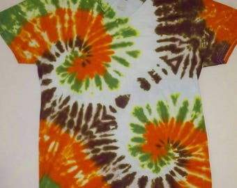 Tie dye Double spiral v-neck - size - Medium