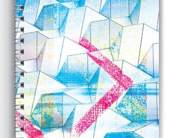 Series_01a, Blue Chevron, Art Notebook, Notebook, Journal, Sketchbook, Diary, Planner,   Art Journal, Wire Binding, Wire Bound