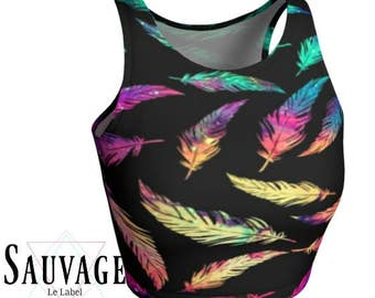 Whimsical galaxy Feathers • Athletic (like for yoga) (or not) •Crop Top• for the cool kids
