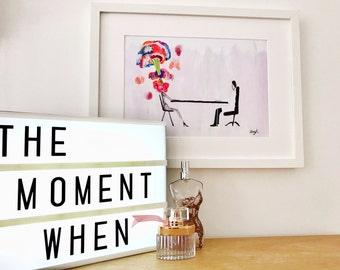 Cancer Gift, Cancer survivor, Cancer fighter, Cancer supporter, Framed print, Hand made, Water Colour, Illustration -'The Moment When...'