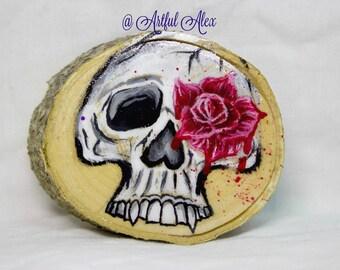 Birch Painted Wood Slice - Birch Wood Ornament - Birch Wood Painted Slice - Rustic Art - Rustic Decor - Wood Slice Decor - Skull Painting