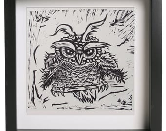 Owl. Original etching with Linocut Prints made in 2015