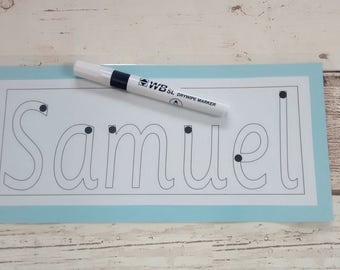 Learn to write name card, personalised name card, handwriting, writing practice, name recognition, EYFS, SEN, early learning, wipe clean pen