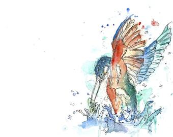 Kingfisher Fishing Watercolour Art Print
