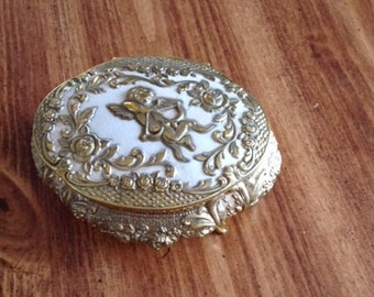 Vintage 1940's Japanese Metal Trinket Box