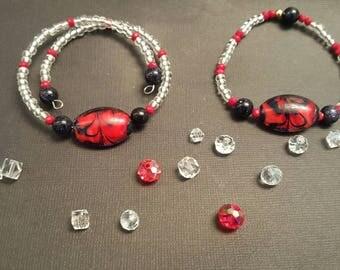 Memory wire bracelet or Stretch bracelet with designs .