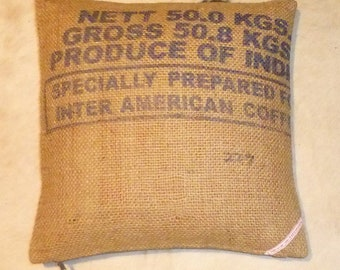 "Coffee bag cover, cushion ""50.8 kg"", 40 x 40 cm"