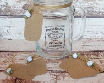 Mason Jar Name Cards | Mason Jar Gift Tags | Wedding Place Cards | Shabby Chic Wedding Decorations | Vintage Decorations | Rustic Decoration