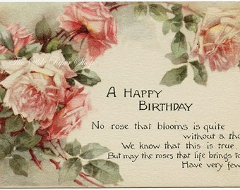 Antique Postcard Beautiful Pink Roses Birthday Poem Pink of Perfection