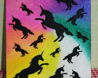Glitter Unicorn painting - one of a kind