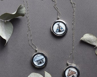 Travel necklace Locket necklace Tiny chain necklace