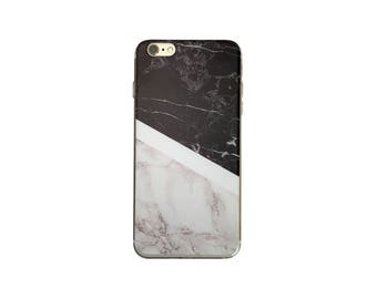 Black and White Marble Rock Pattern Gel Case Cover for iPhone 7, 7 Plus, 6, 6S, 6 Plus, 6S Plus, SE, 5, 5S