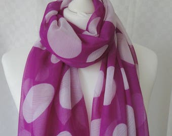 Polka dot print scarf, Polka dot scarf, Dot scarf, Pink and white scarf, Scarf for her, Oversize scarf, Fashion scarf