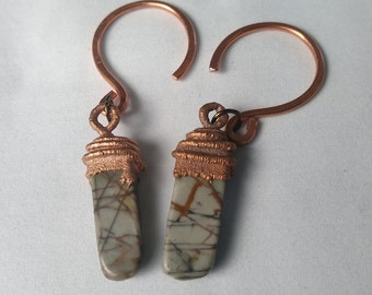 Copper Electroformed Jasper bead 10 gauge hanger weight earrings