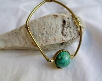 Sterling silver, wiring turquoise ,teardrop earrings