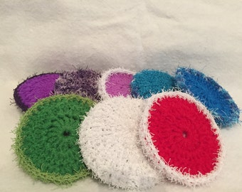 dish scrubbies, double sided, nylon netting and scrubbie yarn