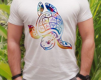 Turtle t-shirt - Turtle tee - Fashion men's apparel - Colorful printed tee - Gift Idea