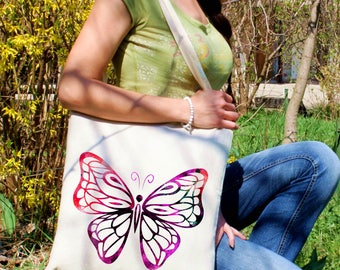 Purple butterfly tote bag -  Butterfly shoulder bag - Fashion canvas bag - Colorful printed market bag - Gift Idea