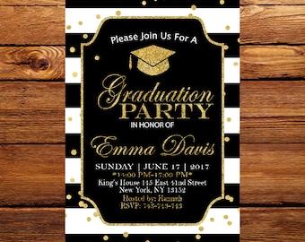 Graduation Invitation, Black and Gold Graduation Invitation, Elegant Graduation, Class of 2017, Graduation Party Invites 6