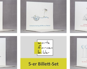 5 greeting cards set, ease - love - potentials