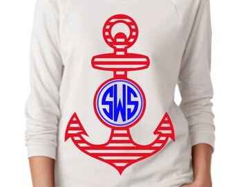 Red White and Blue Anchor Raglan 3/4 length sleeve
