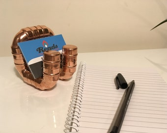 Copper menu or business card holder