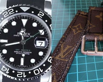 Rolex watch strap vuitton LV canvas custom handmade
