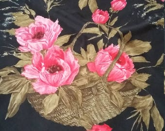 Fabulous quality  50s  Bellino Italian silk scarf with beautiful pink red peonies