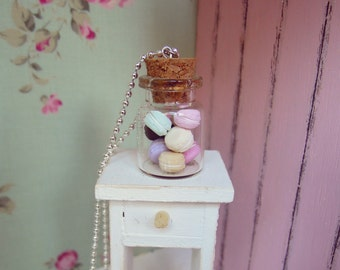 Jar of Macarons Necklace, Cute Necklace with Miniature Pastel Macarons in a Glass Jar, Miniature Food