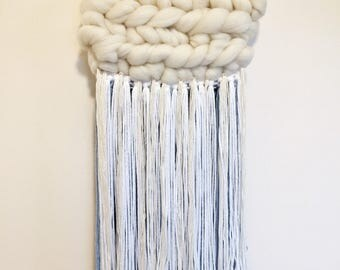 Woven Wall Hanging - Roving Clouds with blue shadows