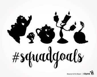 Beauty and the Beast svg squad goals clipart, Disney squad goals svg, silhouette files, svg, eps, png, dxf, pdf. Cut Print Mug Shirt Decal