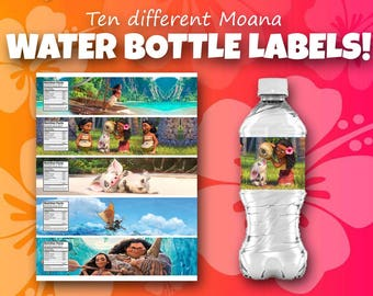Moana themed water bottle covers; Moana bottle labels; moana birthday party supplies