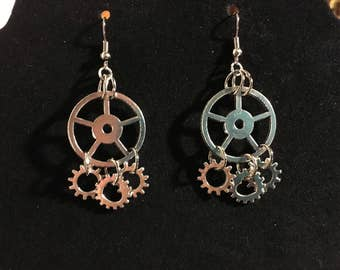 Silver gear earrings