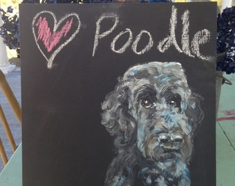 Mini Chalkboard with poodle