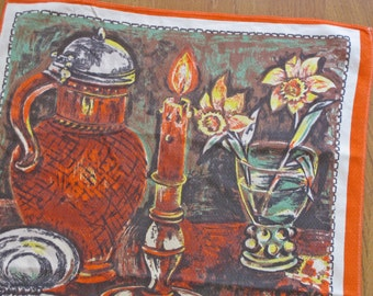 "French tea towel by Vony ""Peinture Flamande"" orange and brown mid century kitchen decor"