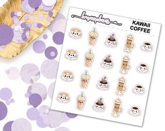 Kawaii Coffee / Time To Wake UP- planner stickers functional erin condren happy planner