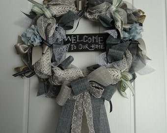 Welcome to our home chalkboard...Handmade Round Ribbon and Organza Door Wreath Grey Black White Blue Antique lace Home decor