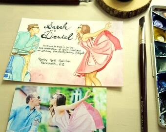 Hand Painted, Hand Lettered Custom Wedding Invitations