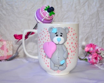 Porcelain mugs with polymer clay decor