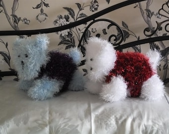 "Two Handknitted ""Westie"" puppy dogs"