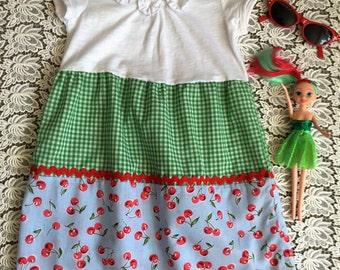 Girls tiered dress. Cherries and gingham. Vintage summer girls dress. Hand made. Tiered skirt. Girls tee shirt top.Handmade cotton dress