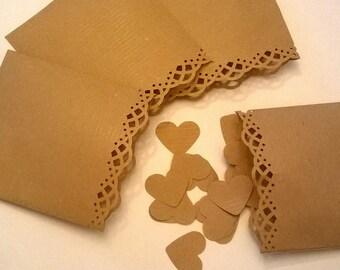 10 pcs Sachets Kraft paper. Sachets 8x9cm/ 3x3.5in . Sachets. Sachets for rice or confetti. Sachets for small jewels.