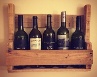 Rustic Reclaimed Pallet Wood Wine Rack Wall Hanging Stenciled Letters Available