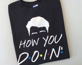 "How You Doin-Joey From Friends T-Shirt Inspired by the TV show Friends. Comfy, black ""How You Doin"" T-Shirt Joey Quotes"