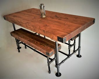 rustic industrial dining table w butcher block top and matching benches