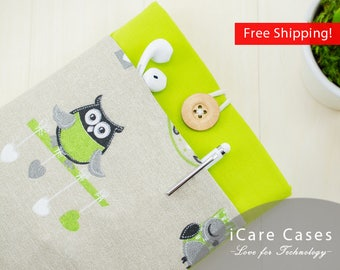 MacBook Case MacBook 2016 Case Apple Computer Cases Laptop Covers for Mac Best 12 MacBook Case i Mac Pro Cases Owl Green Gray Gift for Woman