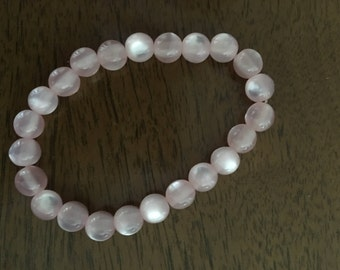 Pink Rose Quartz Beaded Bracelet (small)