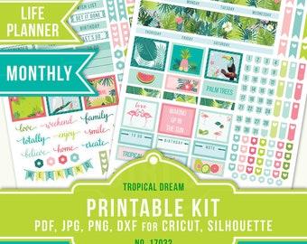 July Planner Stickers, Tropical Stickers, Erin Condren Monthly, ECLP July Sticker, July Monthly, Summer Planner Sticker, 17032